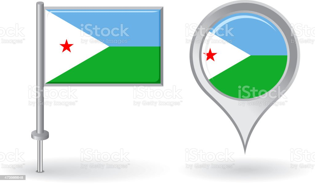 Djibouti pin icon and map pointer flag. Vector vector art illustration