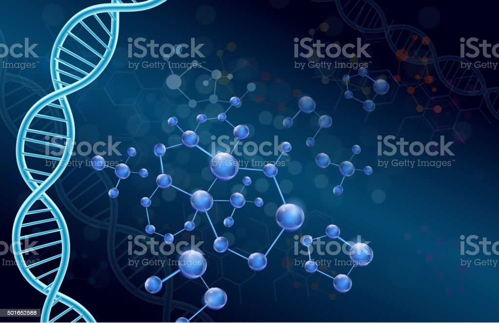 Dna and Molecule on blue background vector art illustration