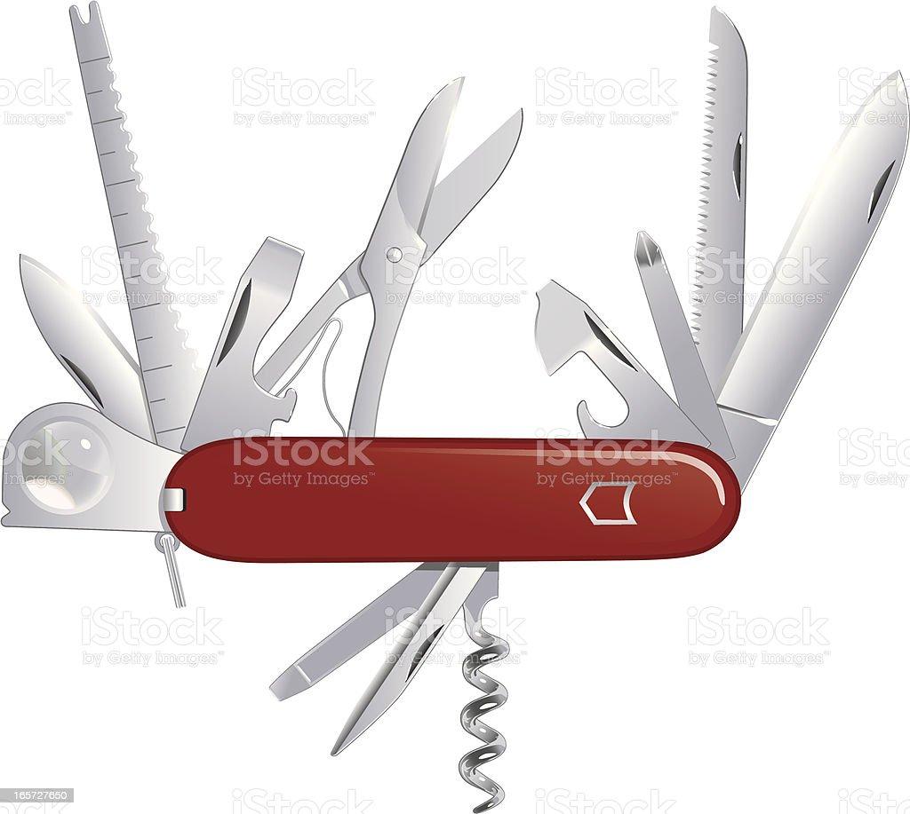 Do It All Pocket Knife vector art illustration