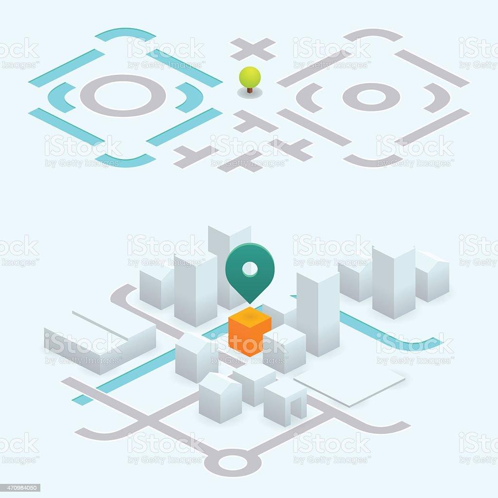 do it yourself map kit - 26.6° isometric vector art illustration