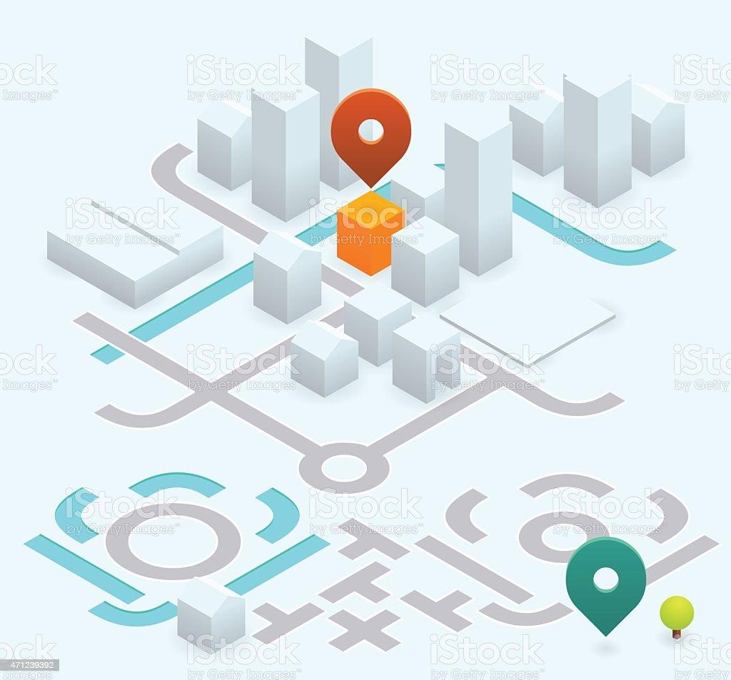 do it yourself map kit - 30° isometric vector art illustration