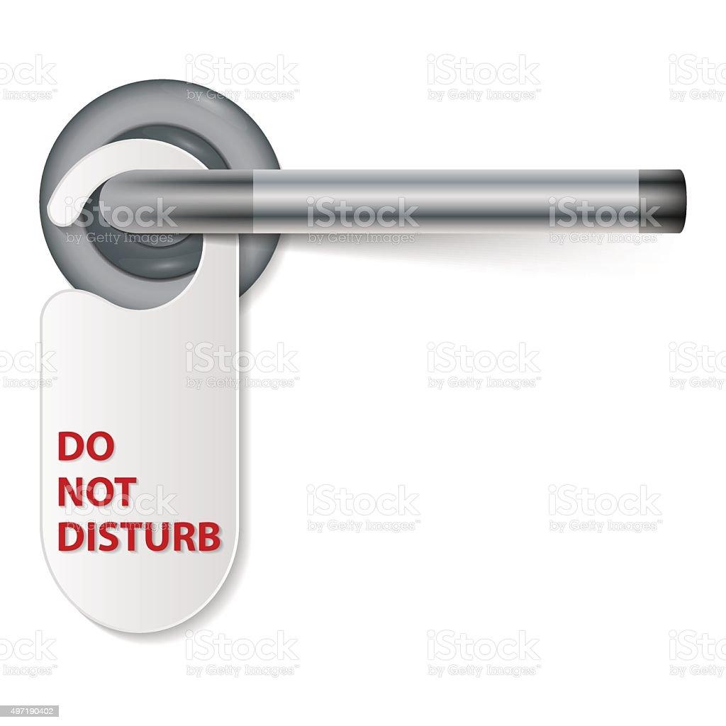 Do Not Disturb Sign With Door Handle, vector art illustration