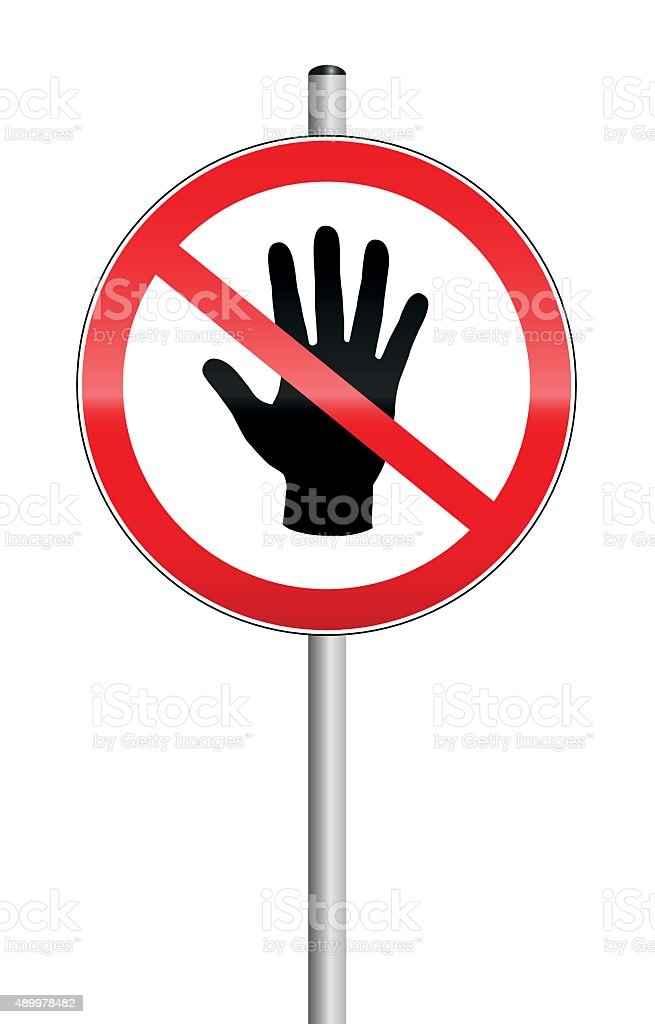 Do Not Enter Sign Hand Off Limits vector art illustration