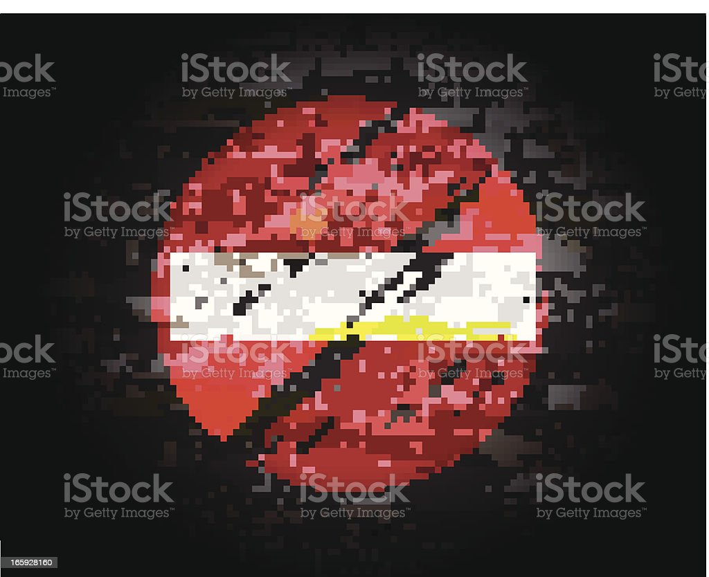 Do Not Enter Sign on Brick Wall royalty-free stock vector art