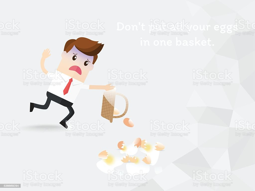 do not put all your eggs in one basket. vector art illustration