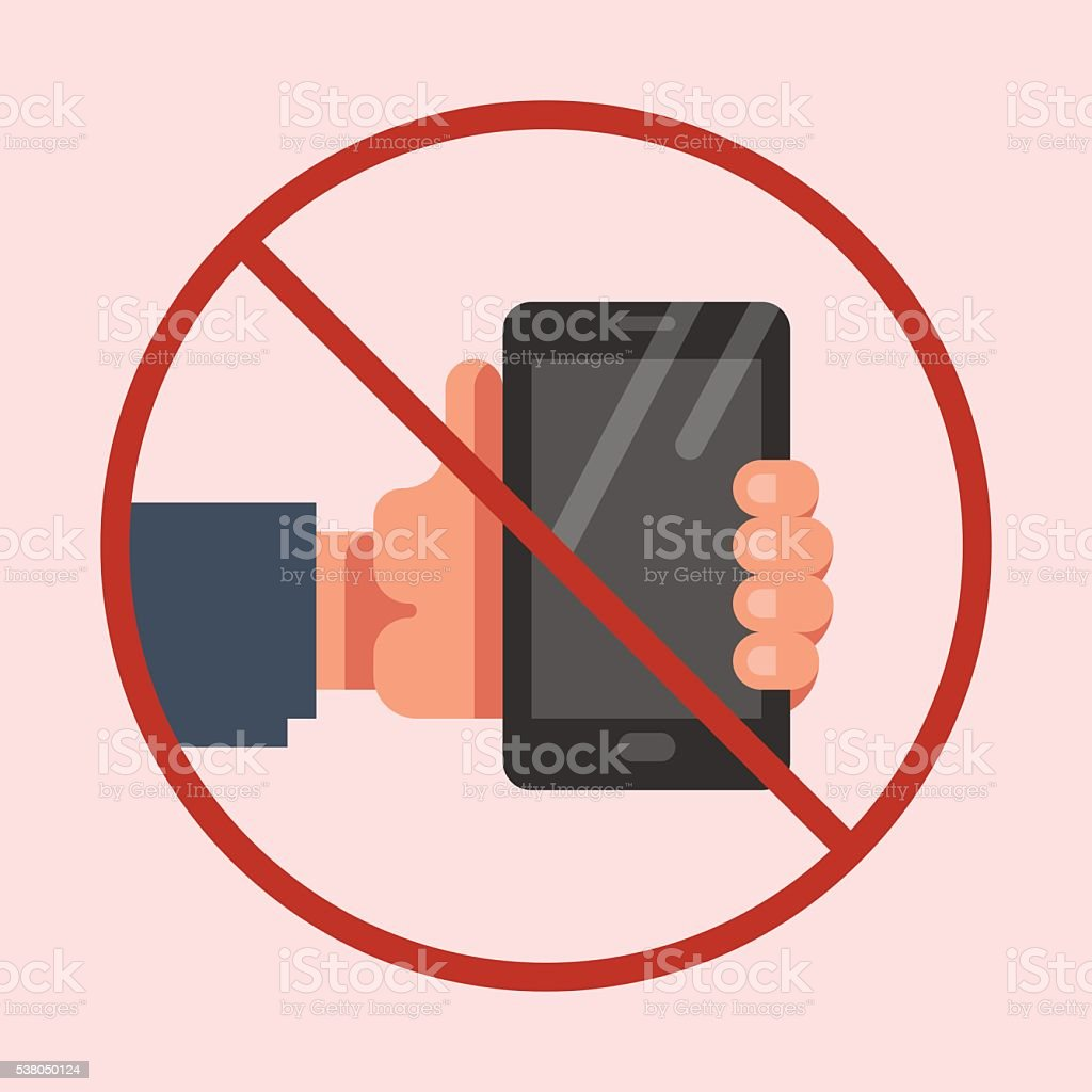 Do not use mobile phone sign vector art illustration