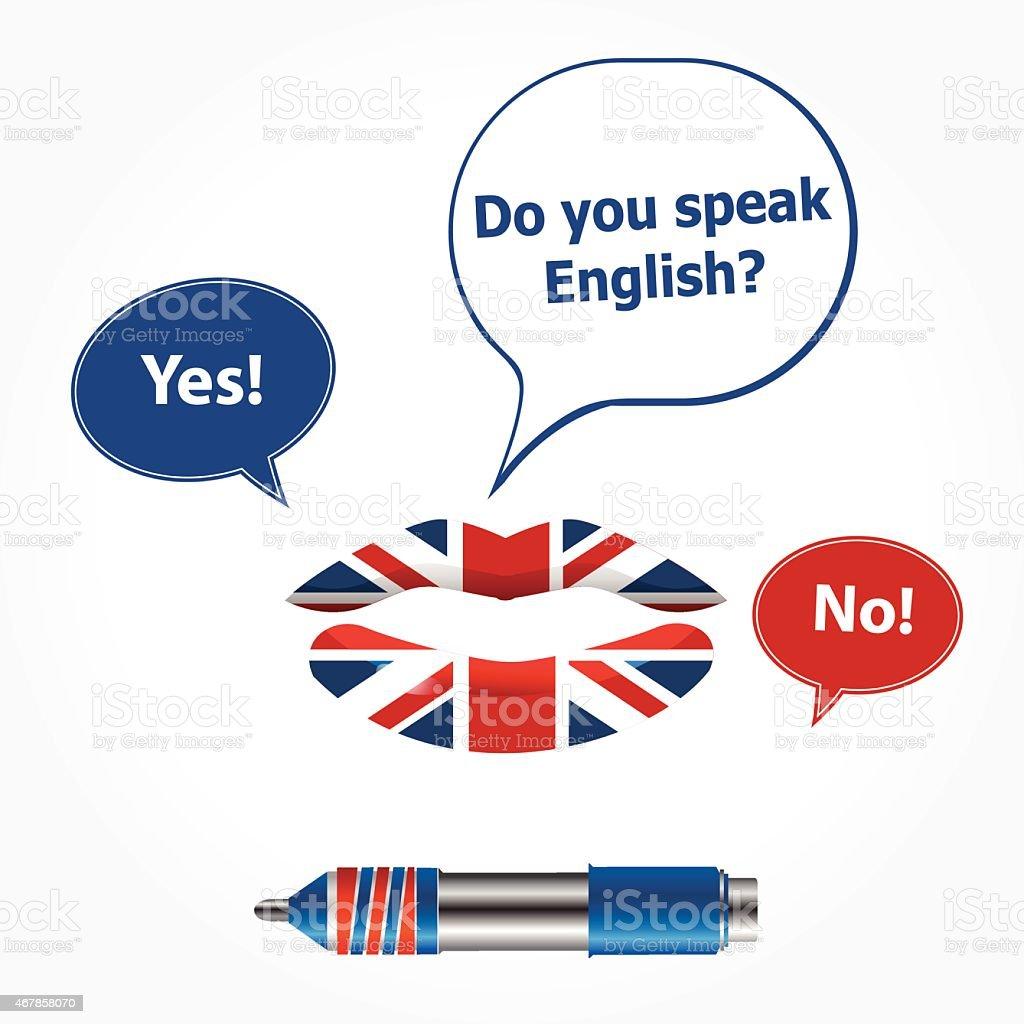 do you speak english vector art illustration