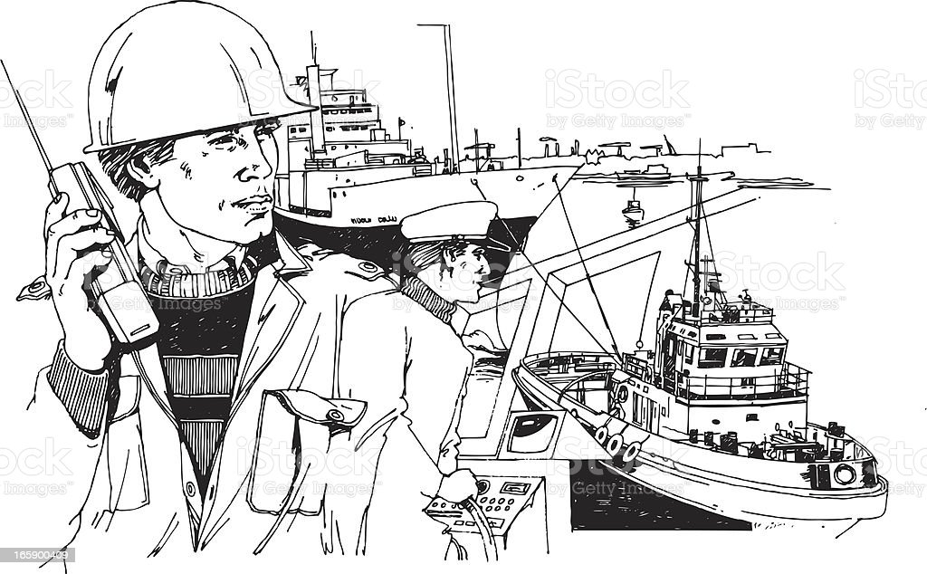 Dock workers vector art illustration
