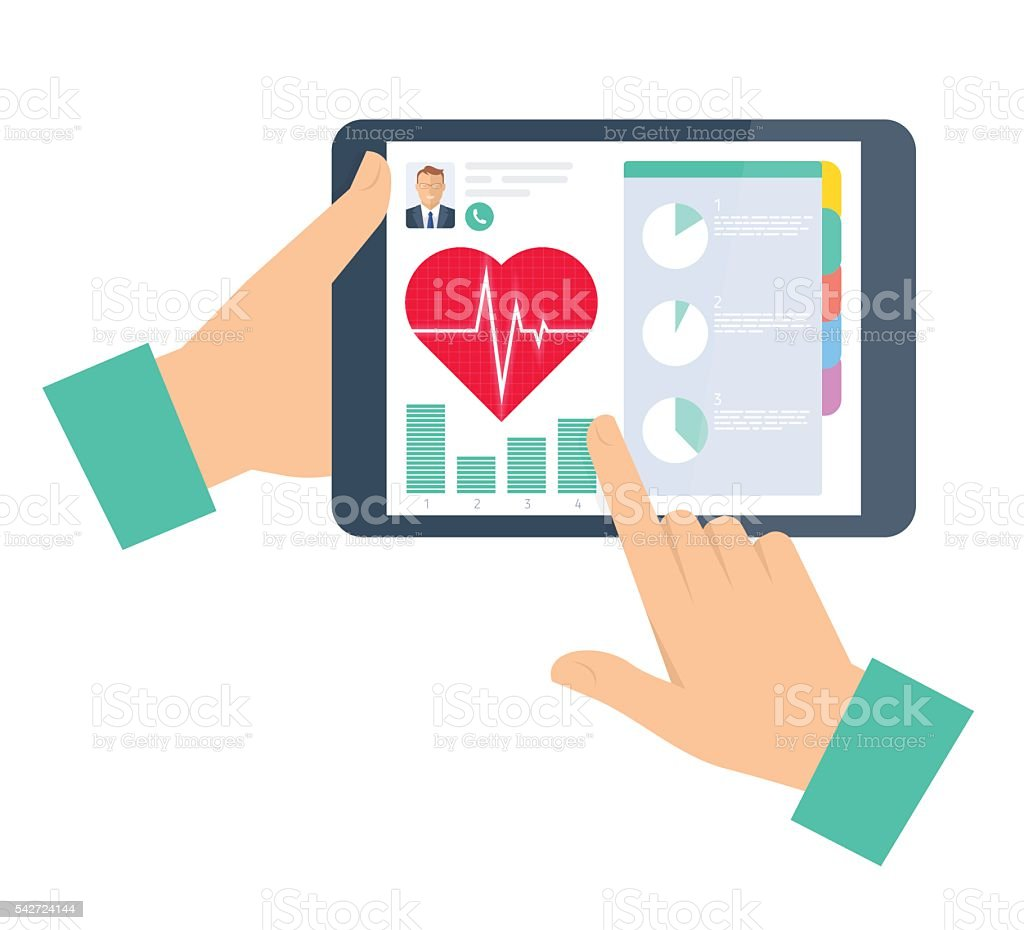 Doctor advises a patient on the tablet. Telemedicine and telehea vector art illustration