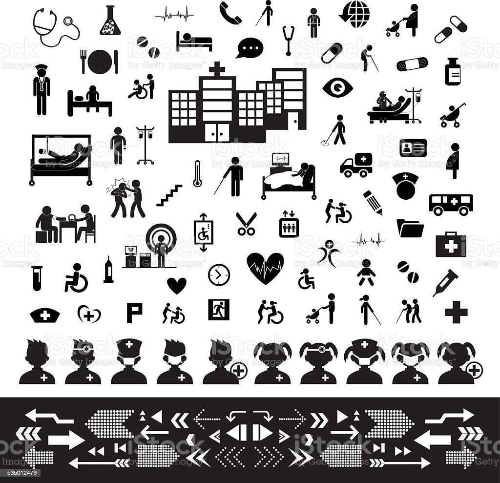 Doctor and hospital icon set vector art illustration