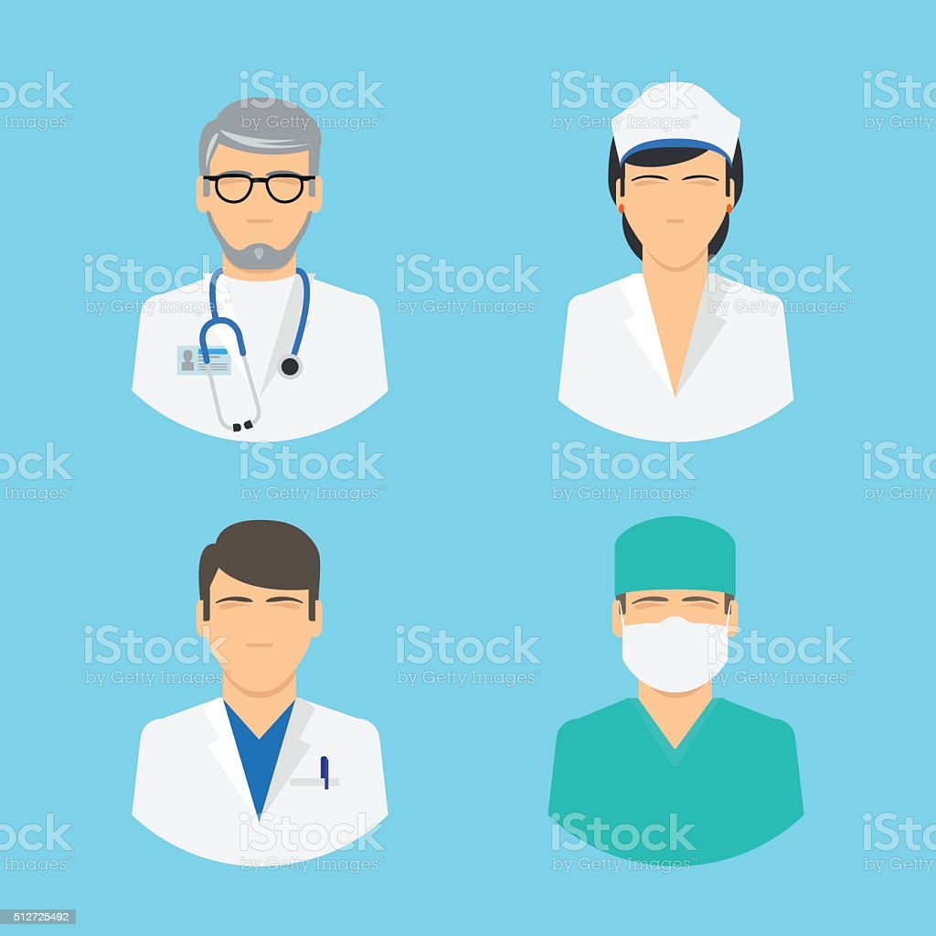 Doctor and nurse icons vector art illustration