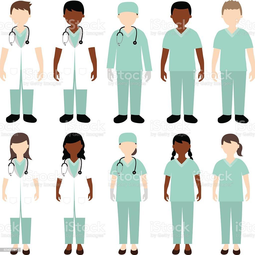 doctor and nurse illustration vector art illustration