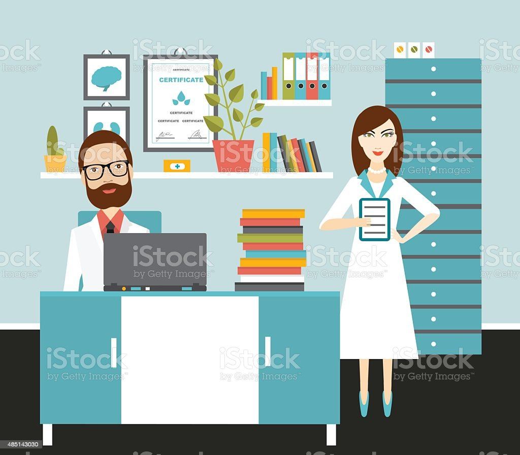 Doctor and nurse office workplace. Flat vector illustration. vector art illustration