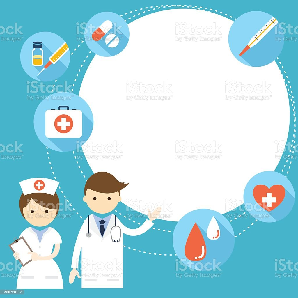 Doctor and nurse Present with Icons and Copy Space vector art illustration