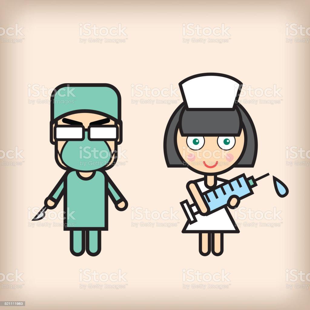 Doctor and nurse vector art illustration