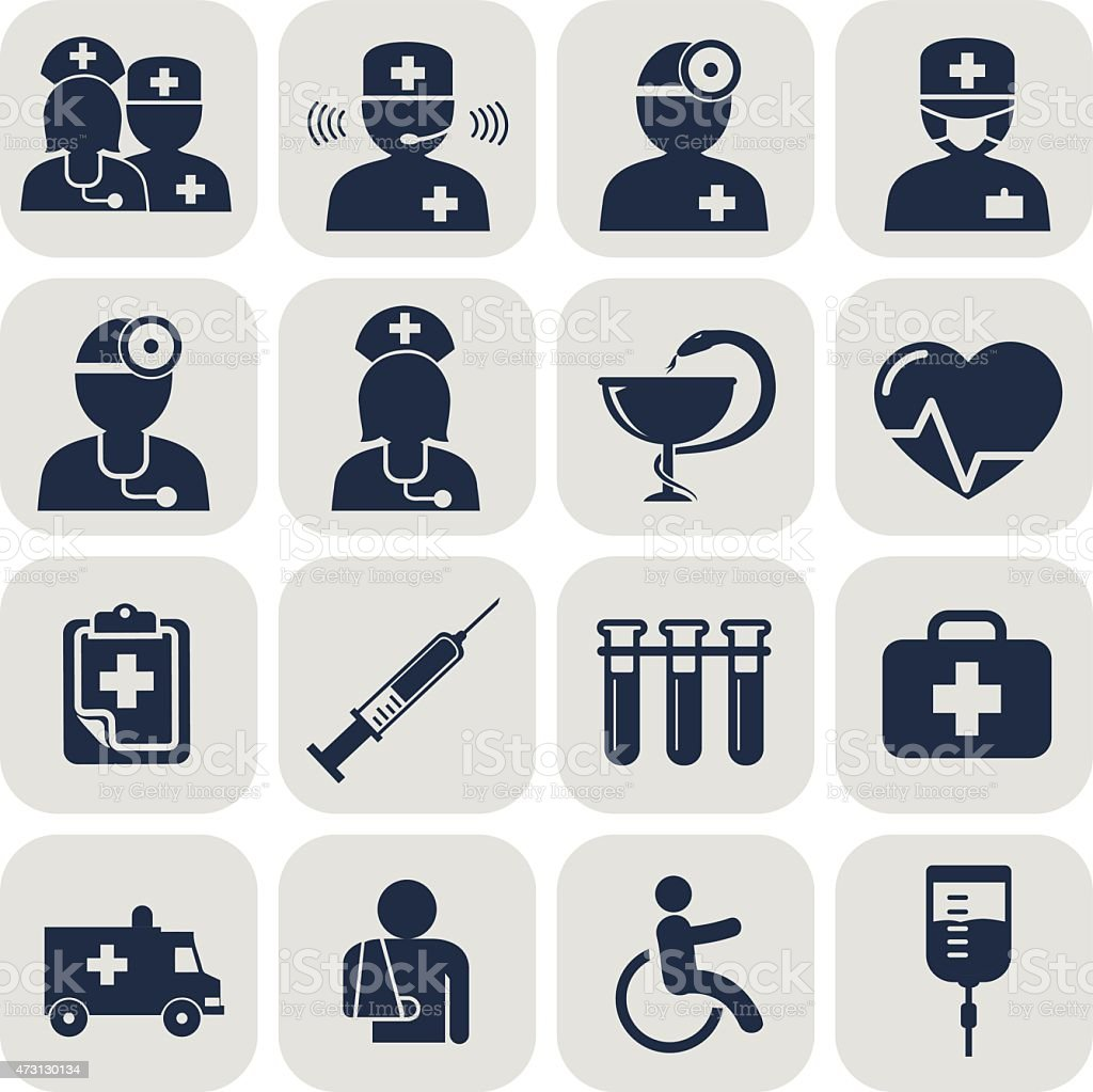 Doctor and Nurses icons on grey vector art illustration
