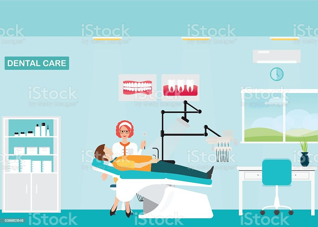 Doctor and patient at Dental care clinic. vector art illustration