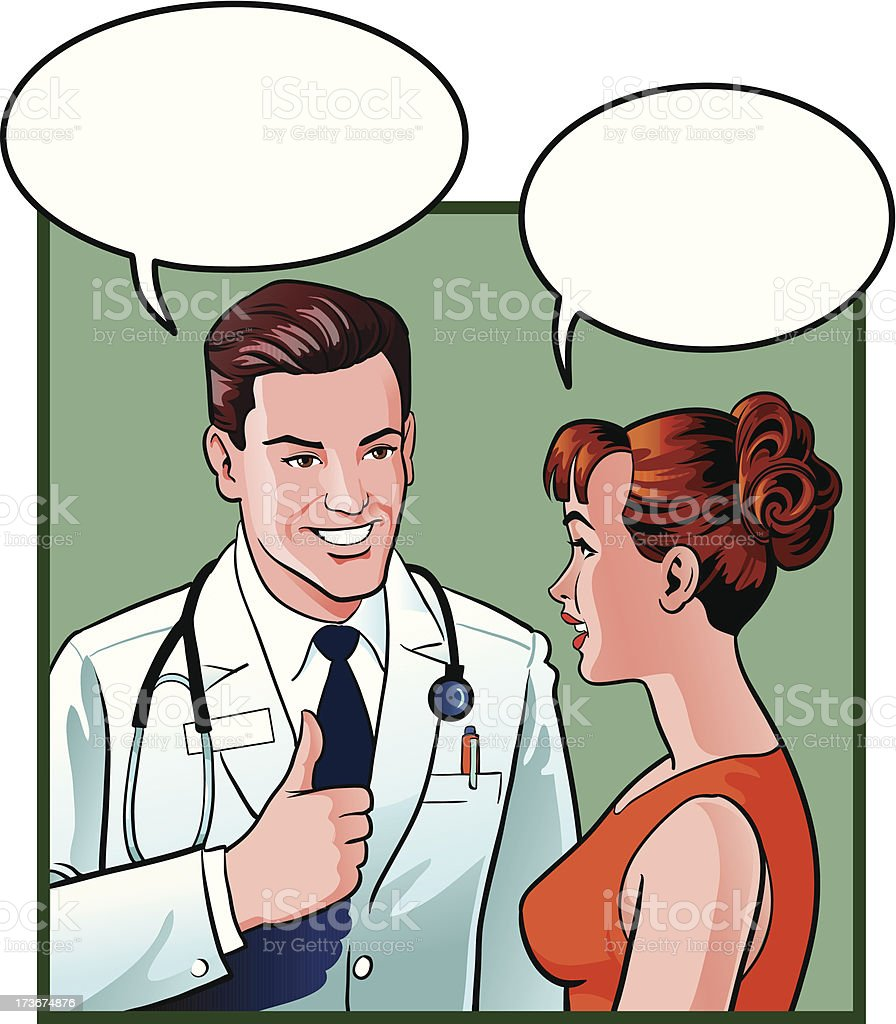 Doctor and Patient Talking royalty-free stock vector art