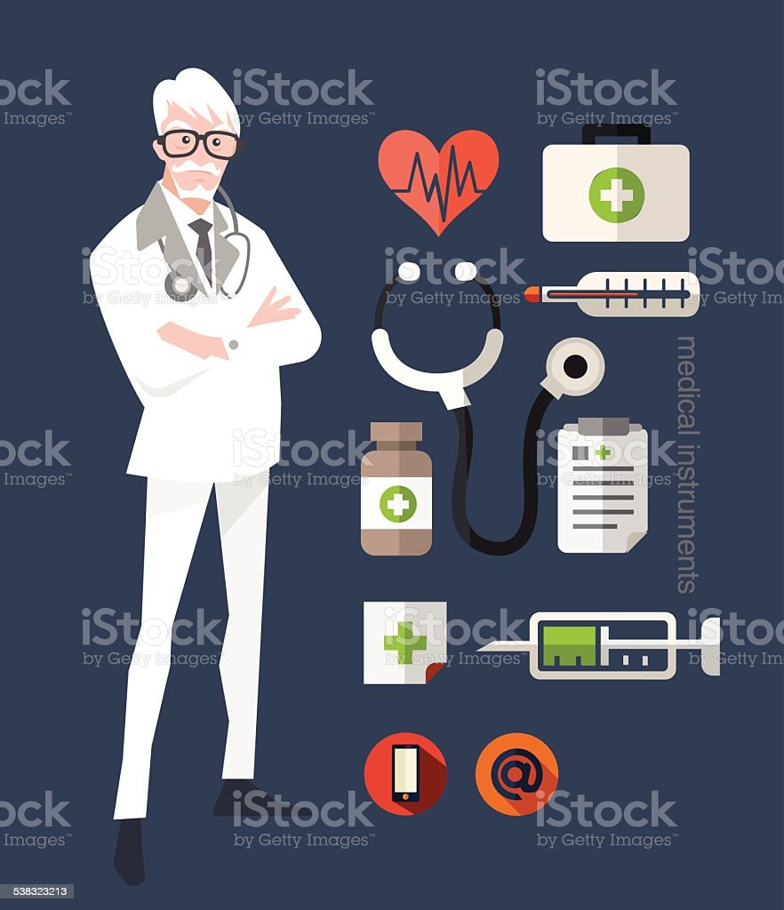 Doctor character design and element. vector art illustration