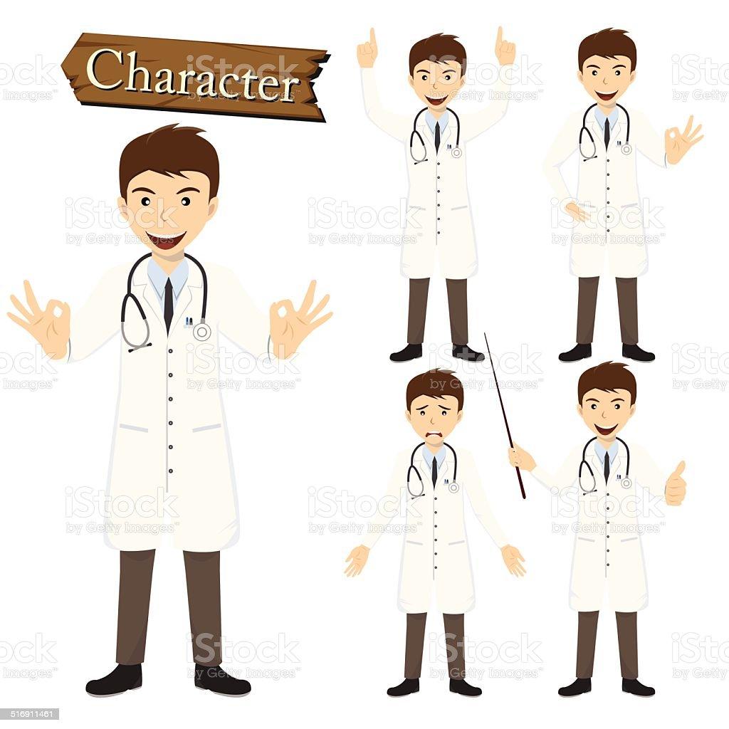 Doctor character set vector vector art illustration