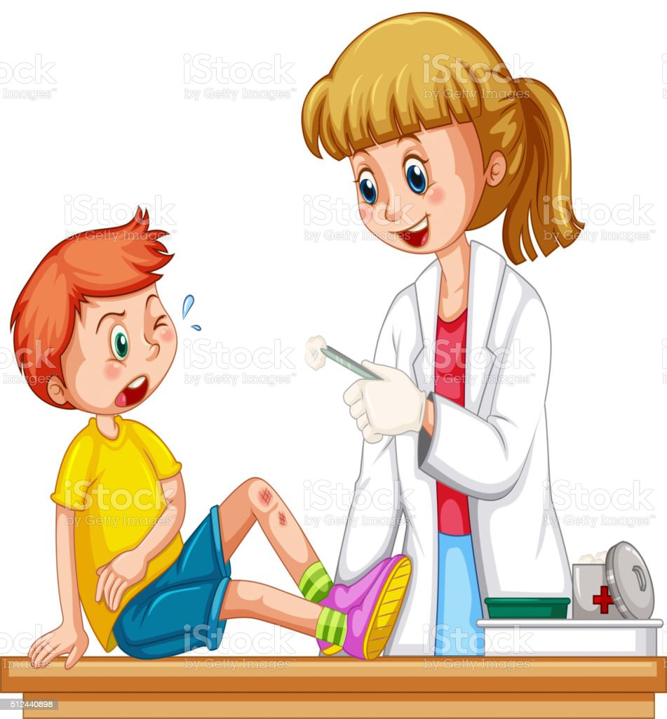 Doctor cleanin up the wound of boy vector art illustration