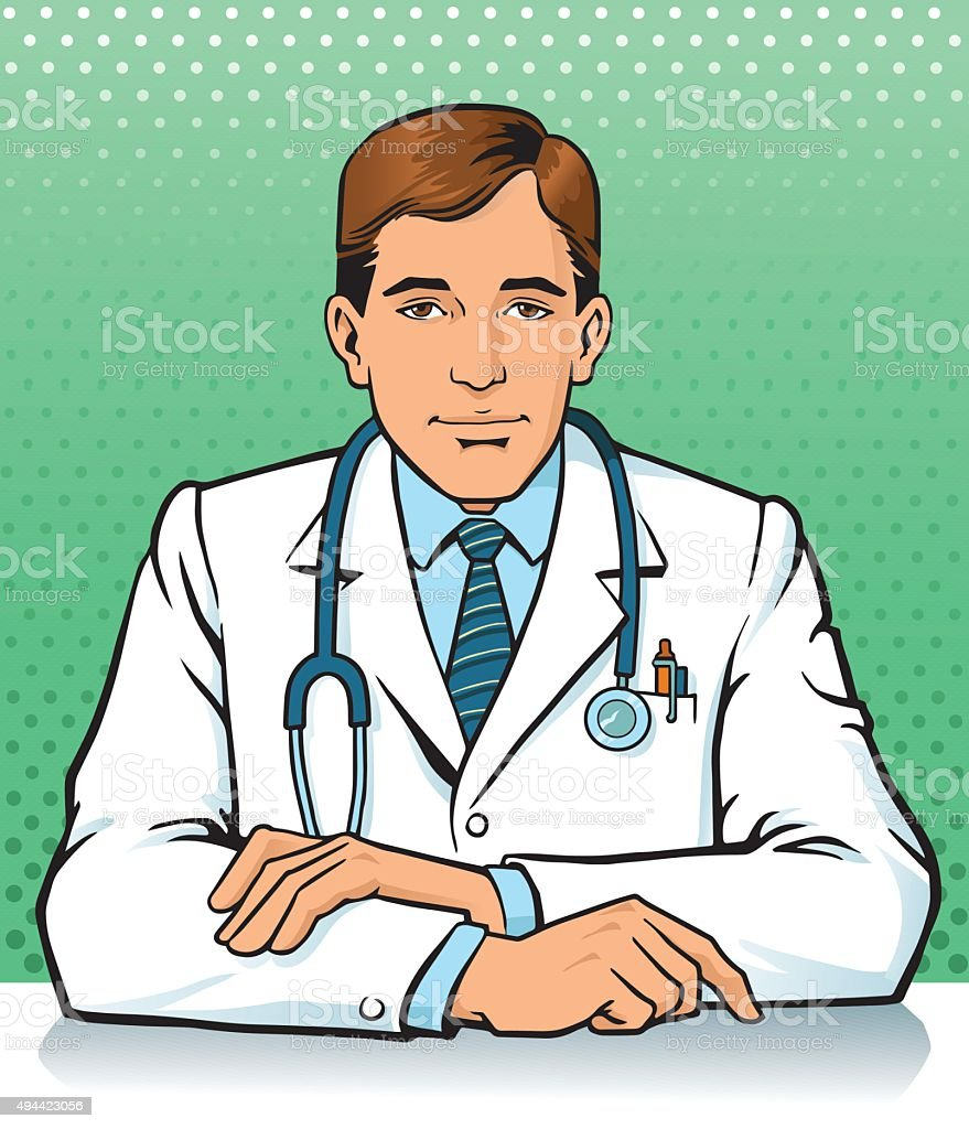 Doctor Consulting vector art illustration