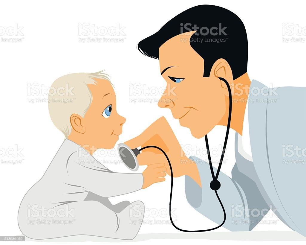 Doctor examines baby vector art illustration
