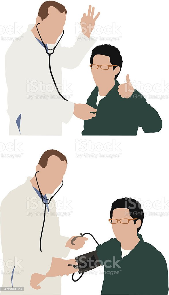 Doctor examining his patient vector art illustration