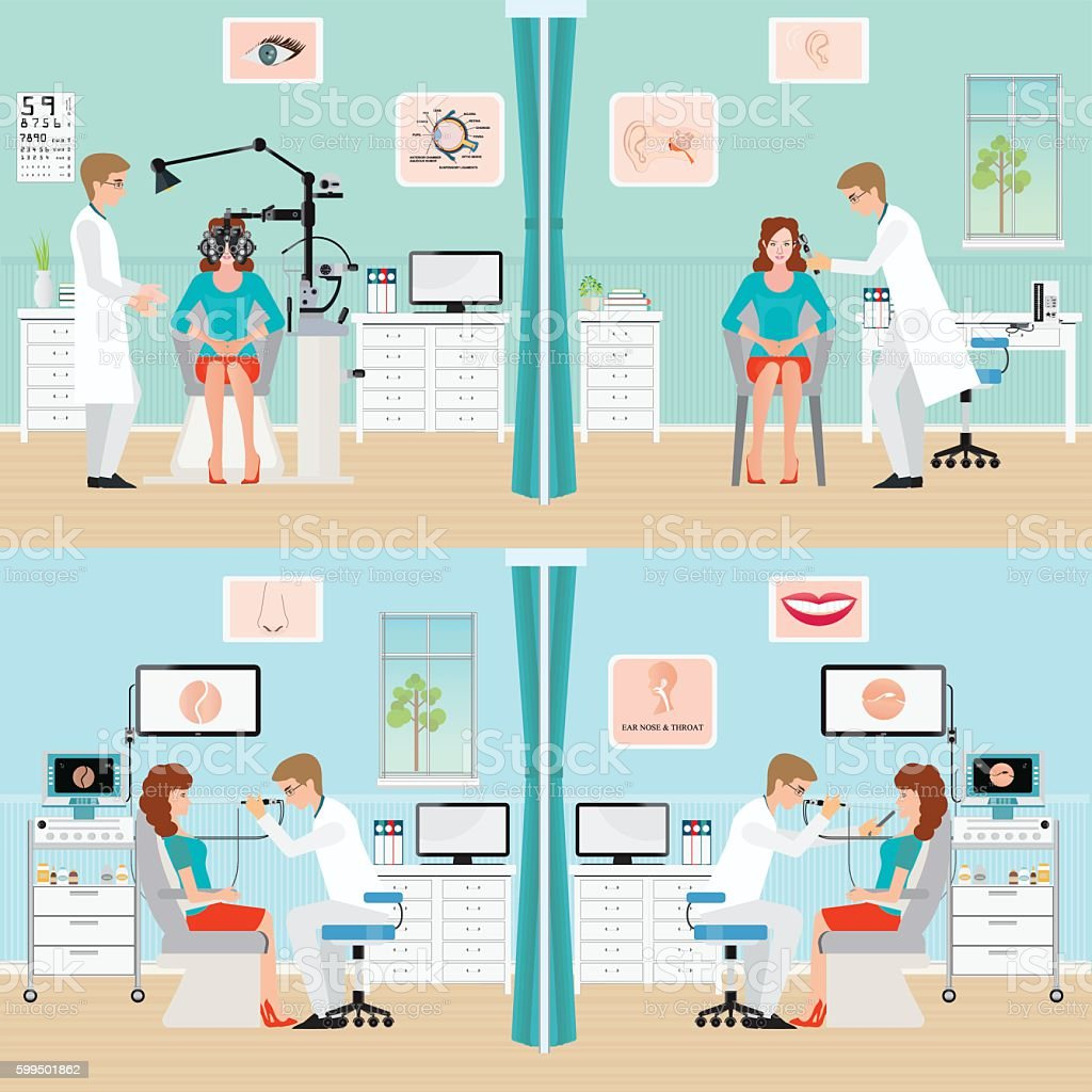 Doctor examining Patient with endoscope and Phoropter. vector art illustration