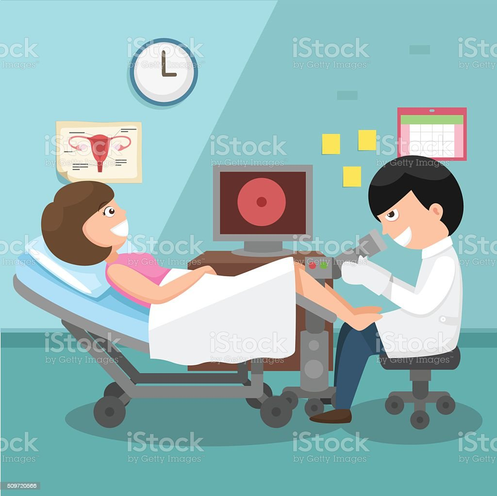 Doctor, gynecologist performing physical examination illustratio vector art illustration