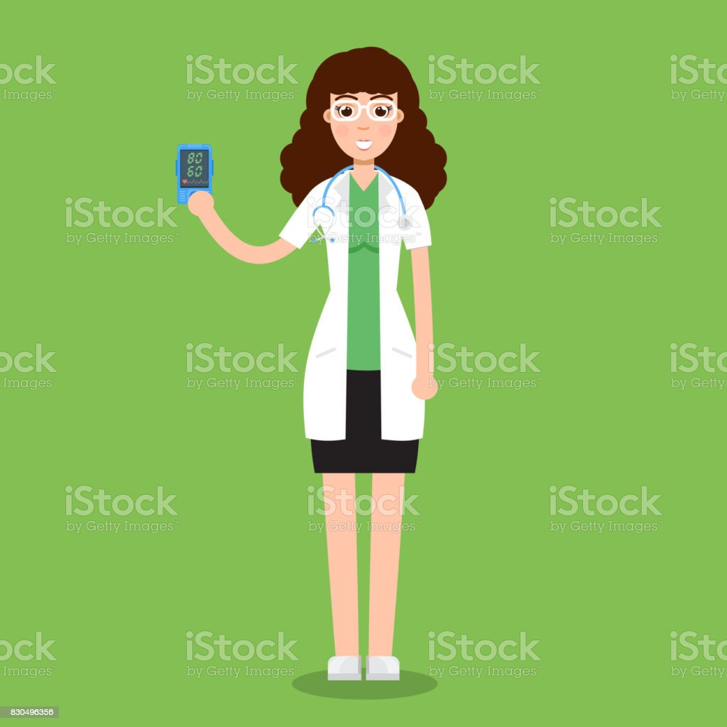Heart rate apps such as pulse phone and heart rate - Doctor Hold Pulse Oximeter In Hand Measuring Heart Rate App Vector Illustration Royalty