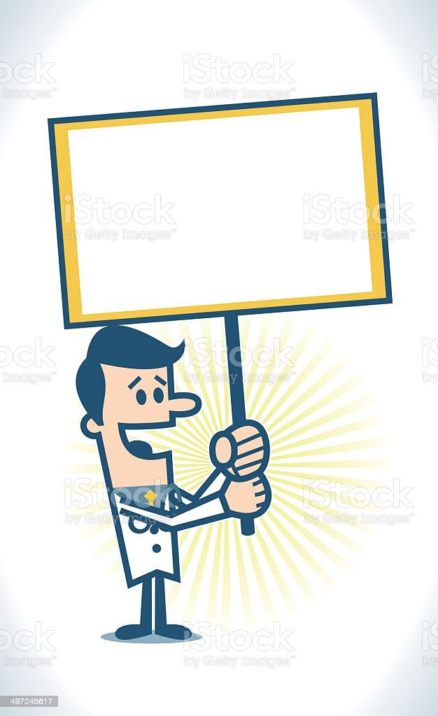 Doctor holding a blank sign royalty-free stock vector art