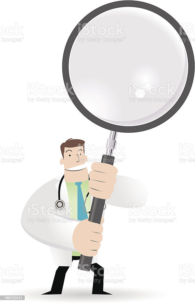 Doctor Holding A Magnifier vector art illustration