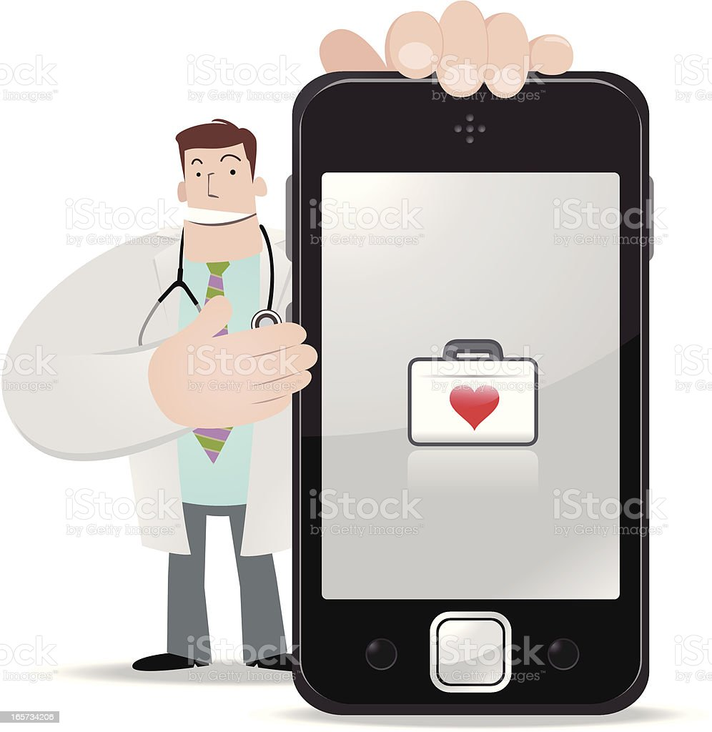 Doctor holding a smartphone and showing medical box royalty-free stock vector art