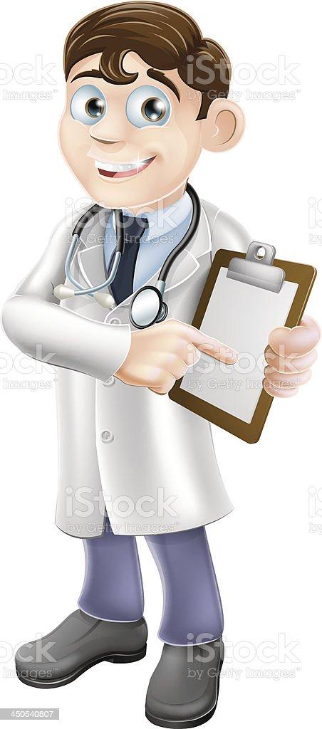 Doctor Holding Clipboard Cartoon royalty-free stock vector art