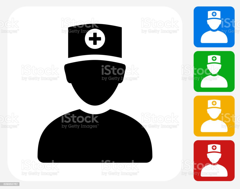 Doctor Icon Flat Graphic Design vector art illustration