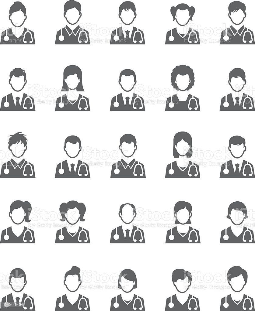 Doctor icon set vector art illustration