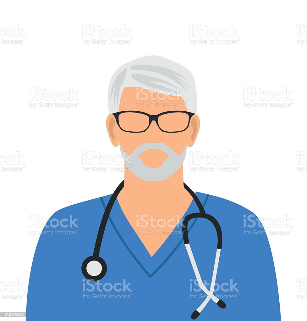 Doctor icon. Vector minimal design.The gray-haired doctor in glasses vector art illustration