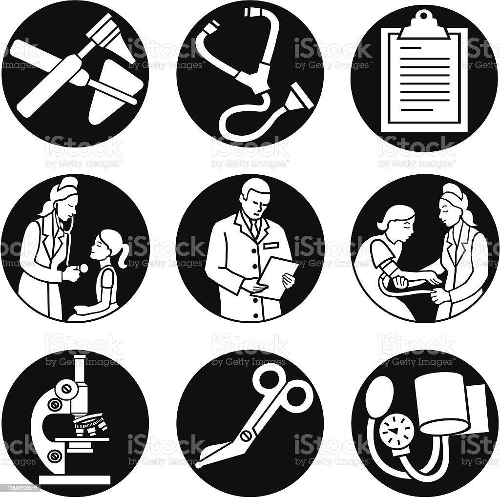 doctor icons reversed royalty-free stock vector art