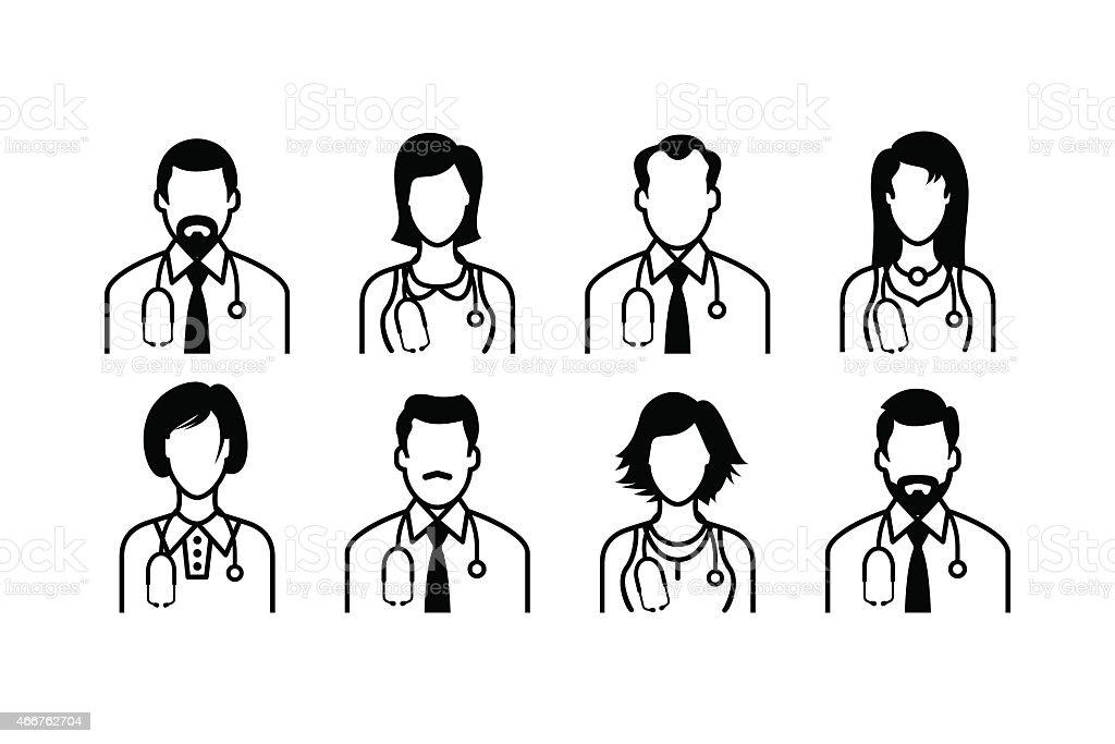 Doctor Icons vector art illustration