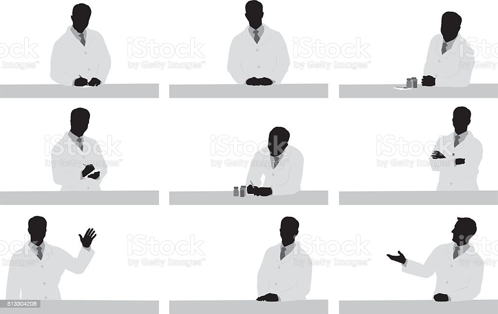 Doctor in various actions vector art illustration