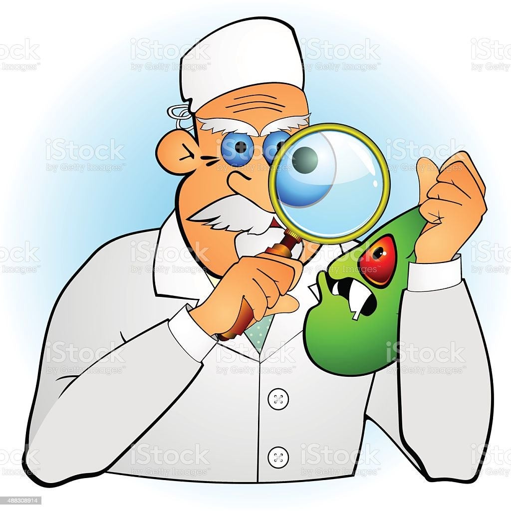 Doctor inspecting germ vector art illustration