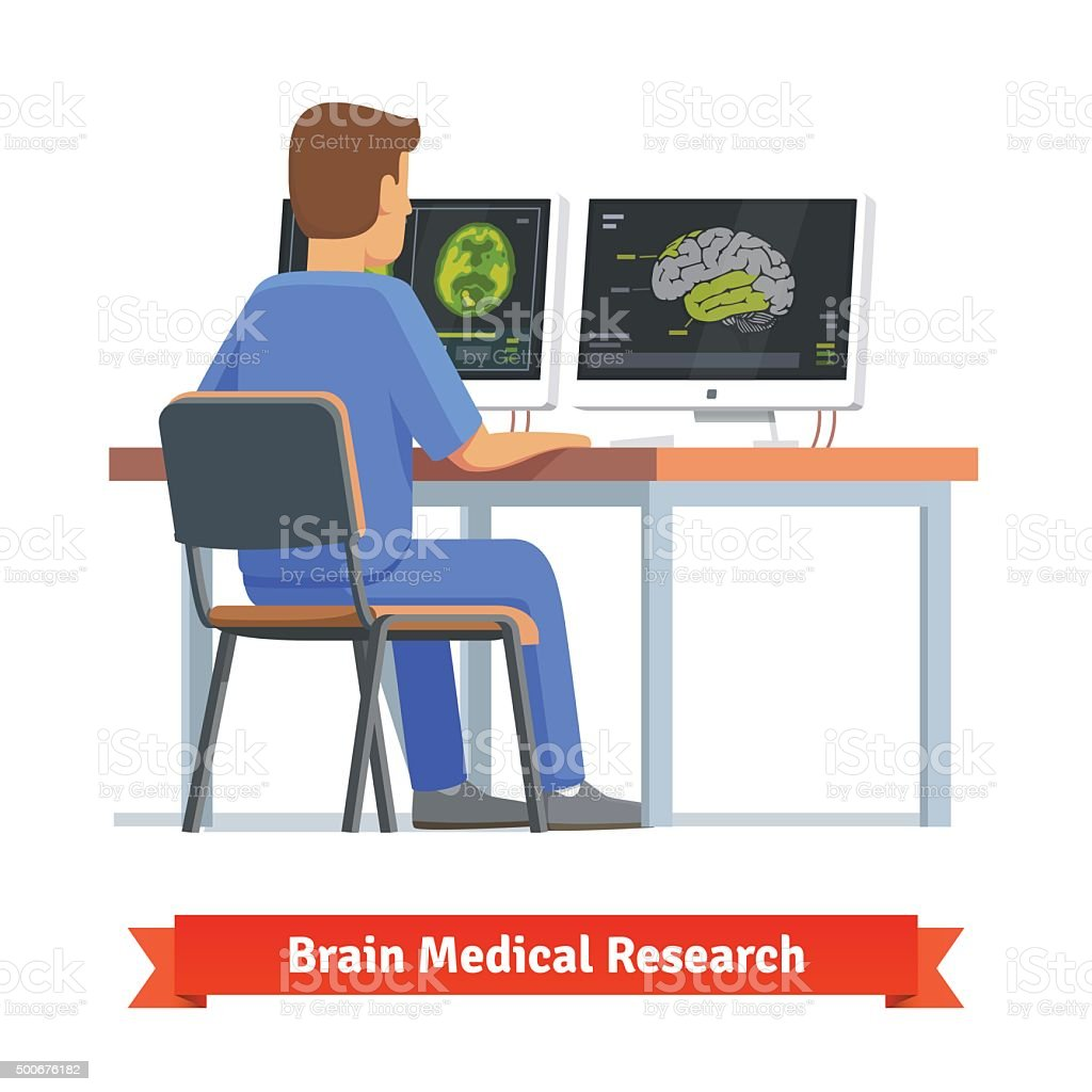 Doctor looking at results of MRI brain scan vector art illustration