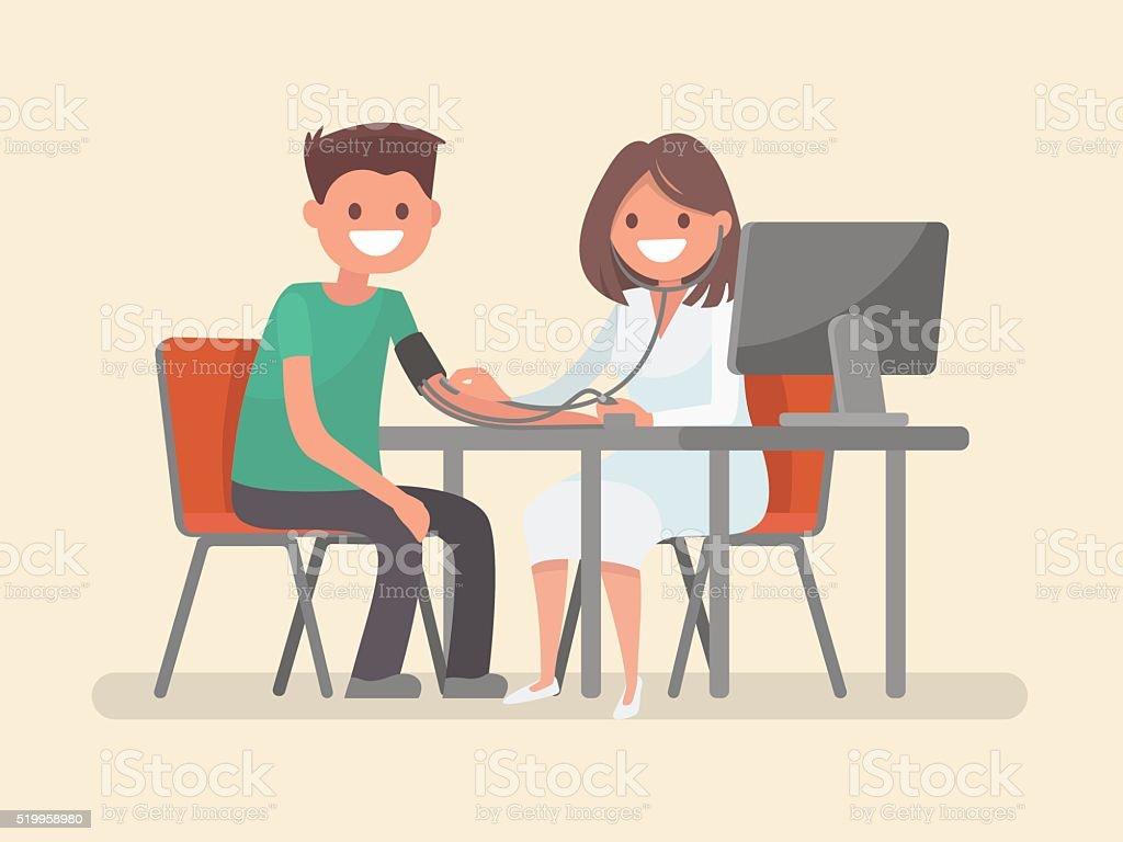 Doctor measures the blood pressure patient. Vector illustration vector art illustration