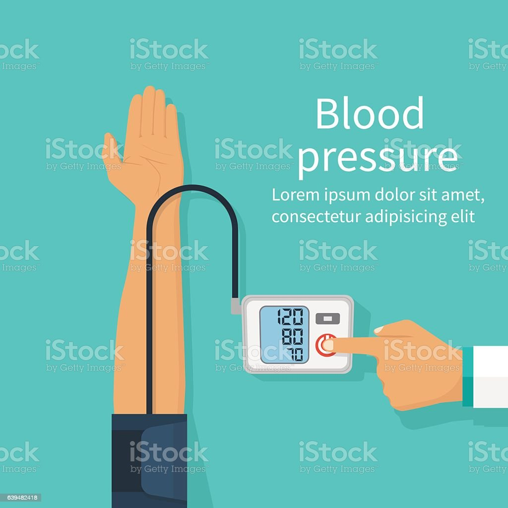 Doctor measuring patient blood pressure vector art illustration