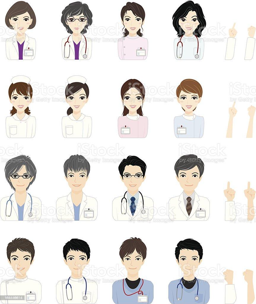 Doctor & Nurse/ Face vector art illustration