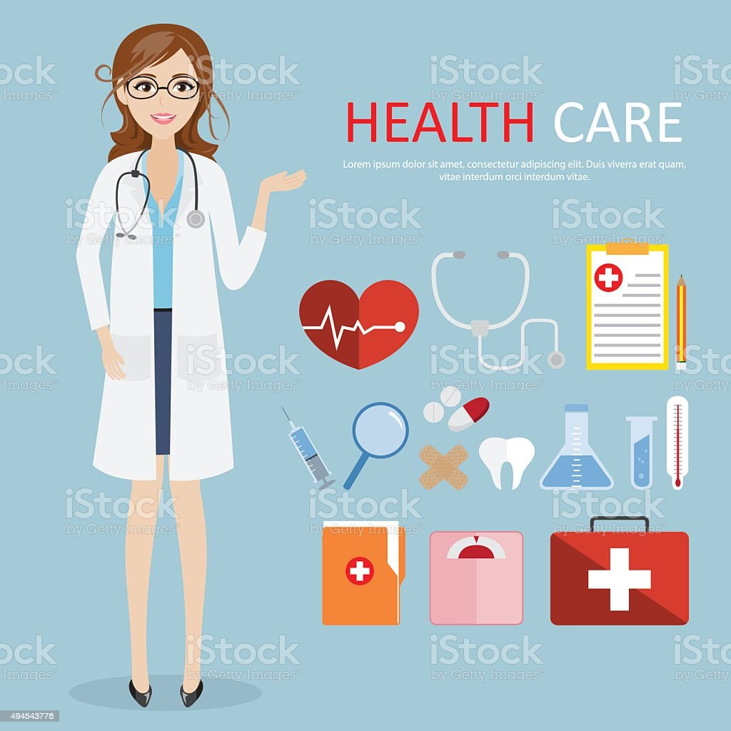 doctor occupation character health care with icon set vector art illustration