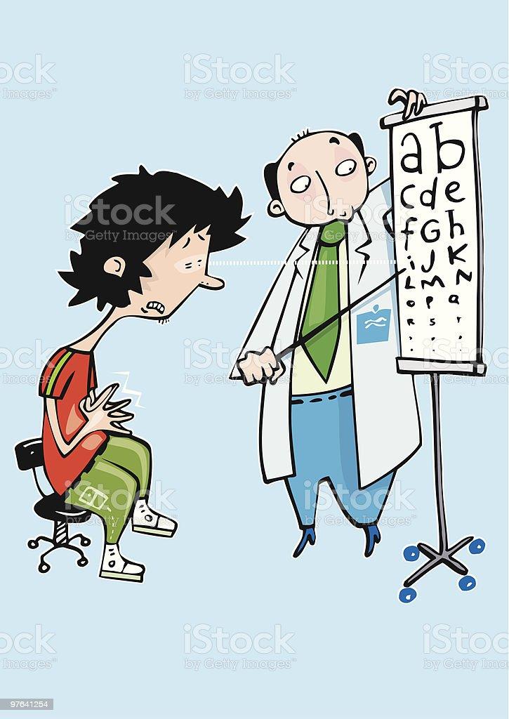 Doctor oculista analizando la vista de un paciente miope royalty-free stock vector art