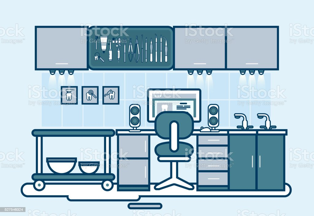 doctor office set with dental chair, cabinet of dentist, medic vector art illustration