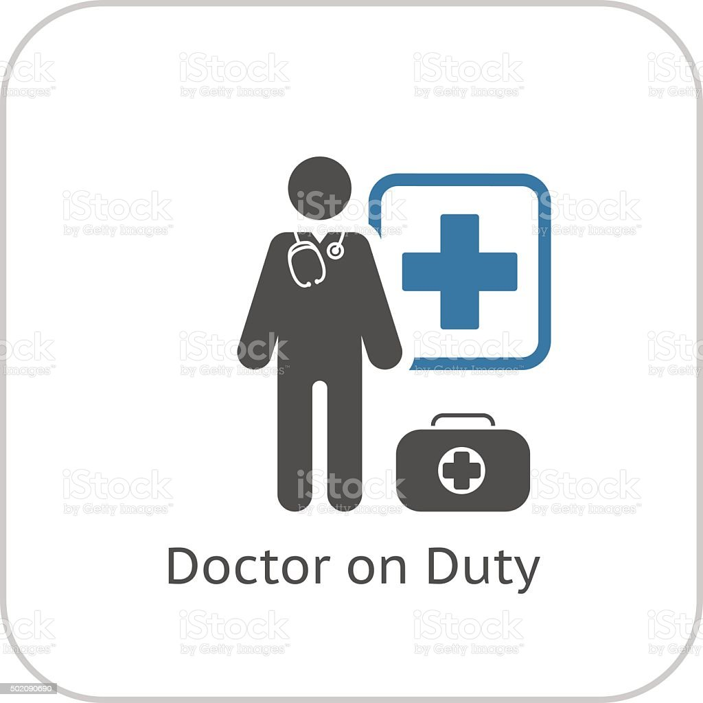 Doctor on Duty Icon. Flat Design. vector art illustration